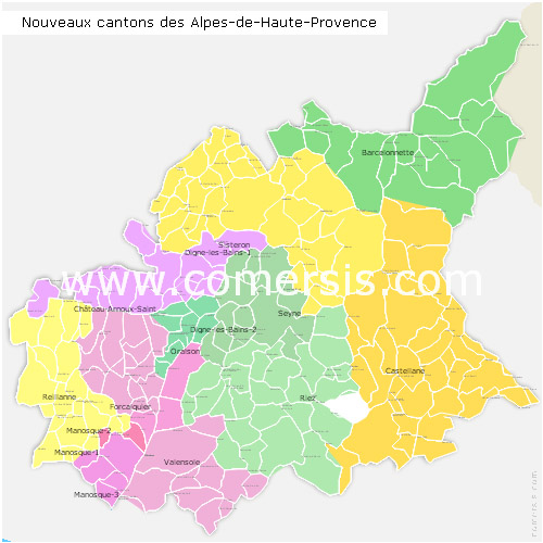 Alpes-de-Haute-Provence counties map with names ( France ) for Word and Excel.