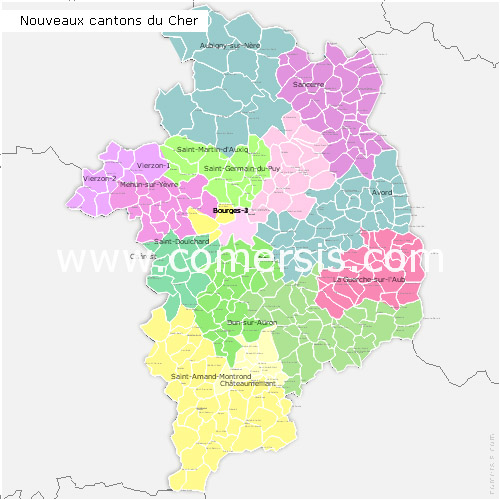 carte du cher 18 Cher counties map with names ( France ) for Word and Excel.