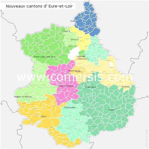 carte d eure et loir Carte nouveaux cantons d'Eure et Loir pour Word et Excel
