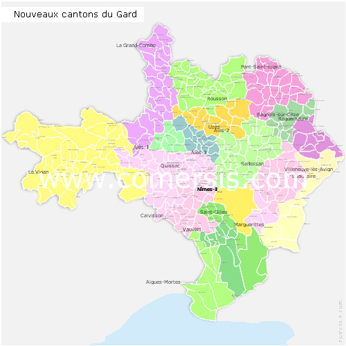 Gard counties map with names ( France ) for Word and Excel.