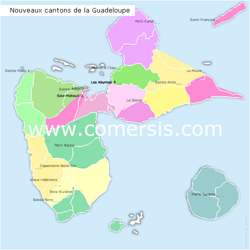 Guadeloupe counties map with names ( France ) for Word and Excel.