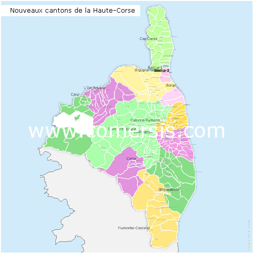 Haute-Corse counties map with names ( France ) for Word and Excel.