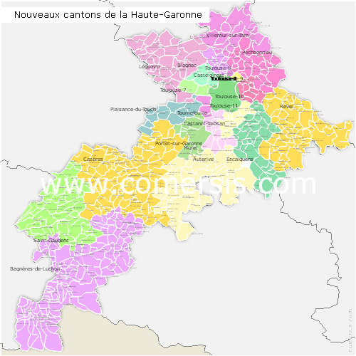 Haute-Garonne counties map with names ( France ) for Word and Excel.