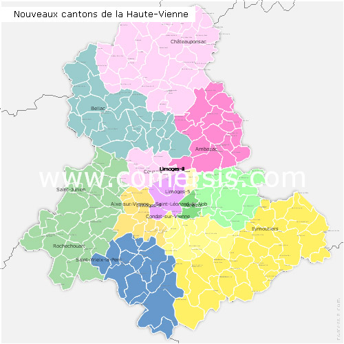 Haute-Vienne counties map with names ( France ) for Word and Excel.