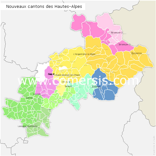 Hautes-Alpes counties map with names ( France ) for Word and Excel.