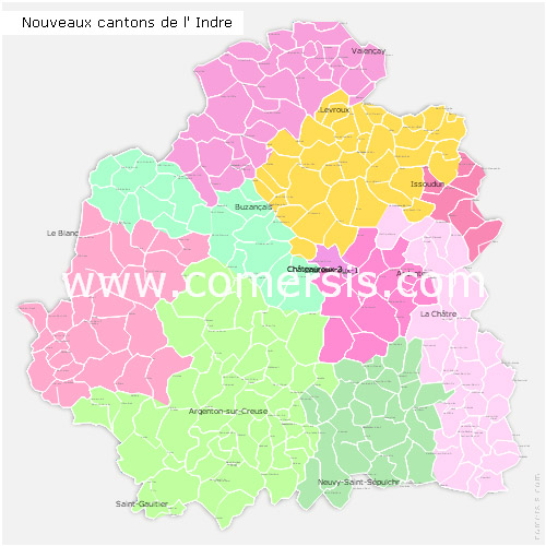 Indre counties map with names ( France ) for Word and Excel.