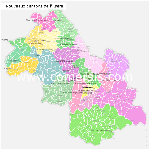 nouveaux cantons de l'Isère 2015 pour Word et Excel