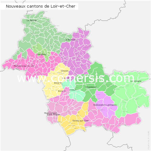 Loir-et-Cher counties map with names ( France ) for Word and Excel.