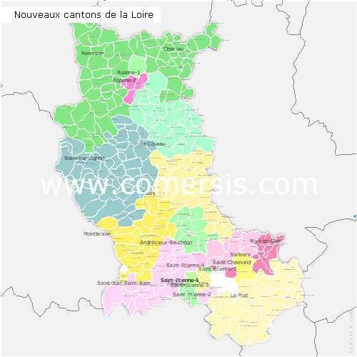 Loire counties map with names ( France ) for Word and Excel.
