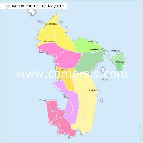 des nouveaux cantons de  Mayotte 2015 pour Word et Excel.