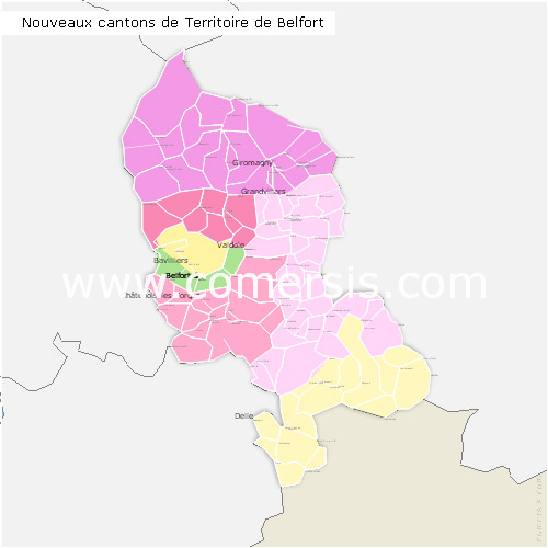 Territoire de Belfort counties map with names ( France ) for Word and Excel.