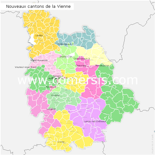 Vienne counties map with names ( France ) for Word and Excel.