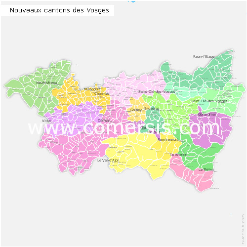 Vosges counties map with names ( France ) for Word and Excel.