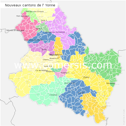 Yonne counties map with names ( France ) for Word and Excel.