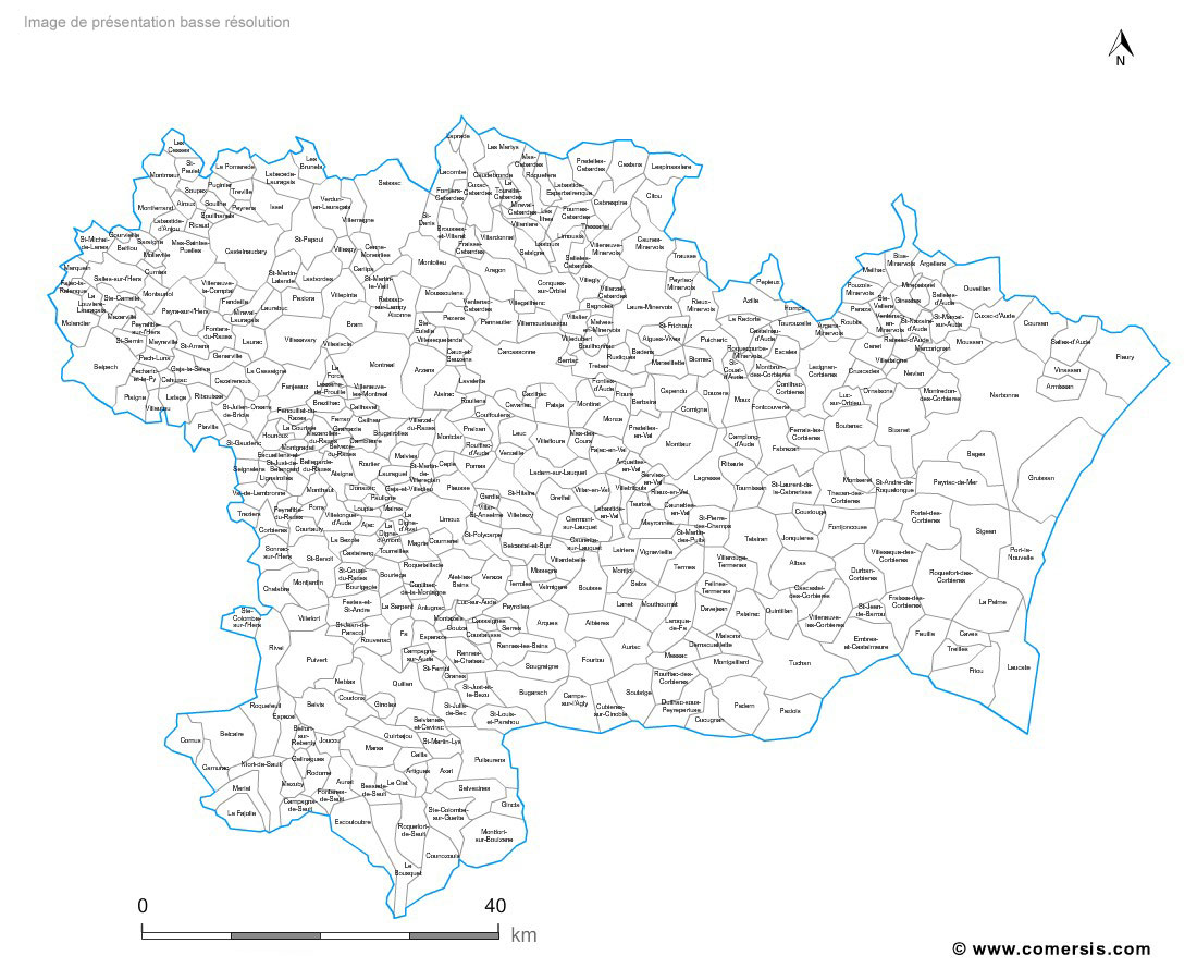 Aude municipalities vector map with names ( France ).