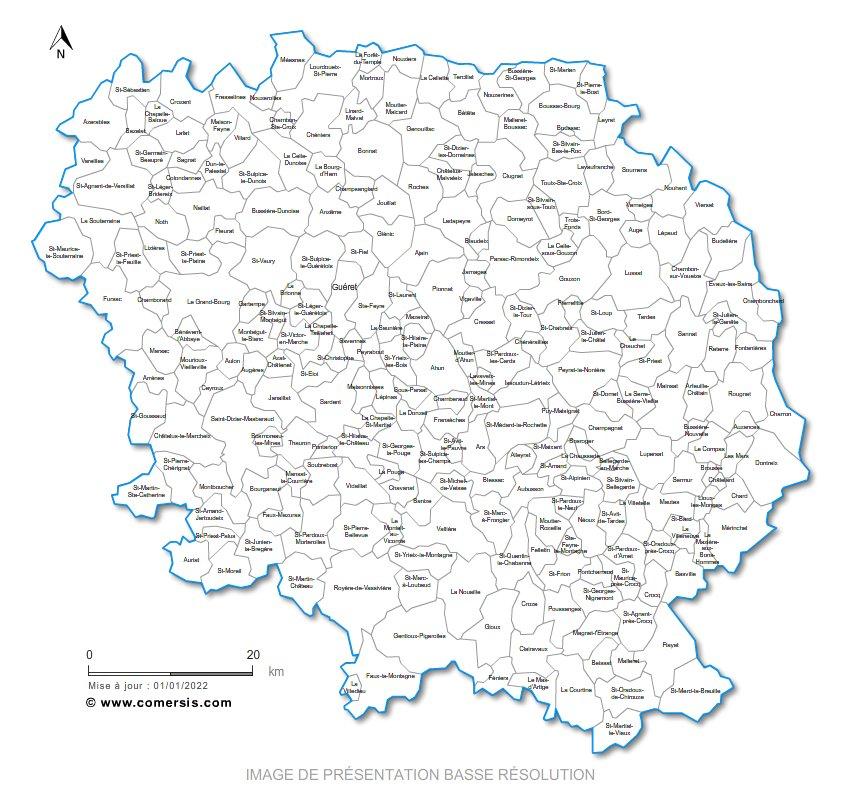 communes de la Creuse - 23