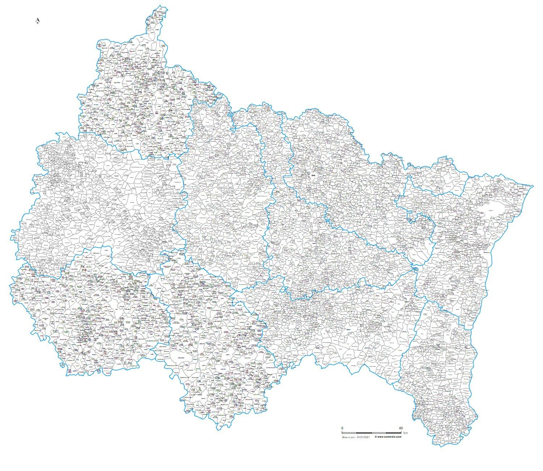 Carte des villes et communes du grand est for Metz code postal