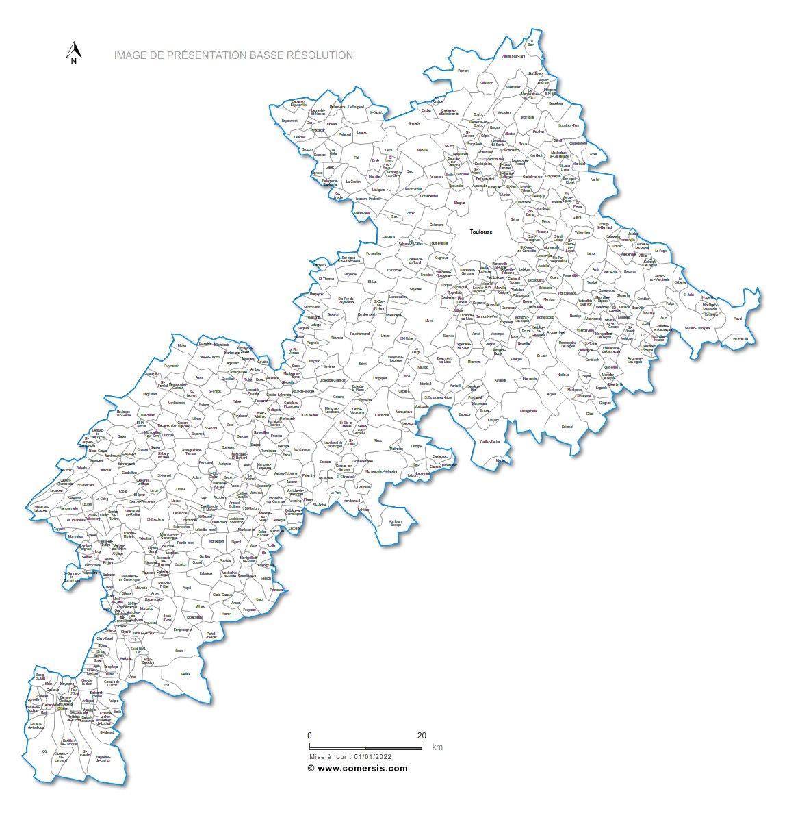 Carte personnalisable des villes et communes de la haute for Haute garonne