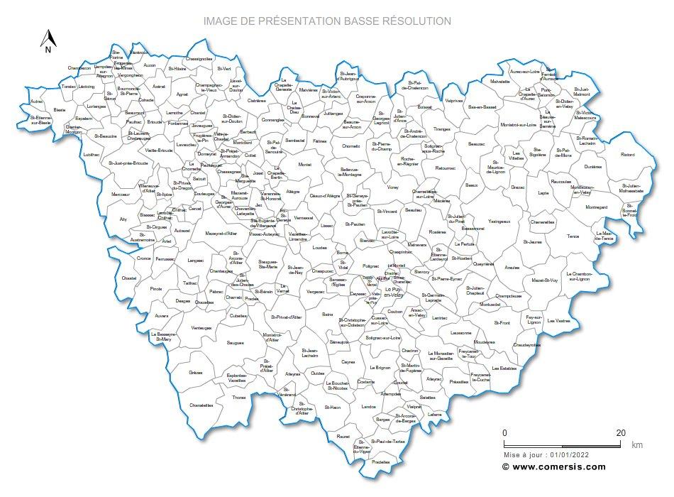 carte de la haute loire avec les communes Carte personnalisable des villes et communes de la Haute Loire