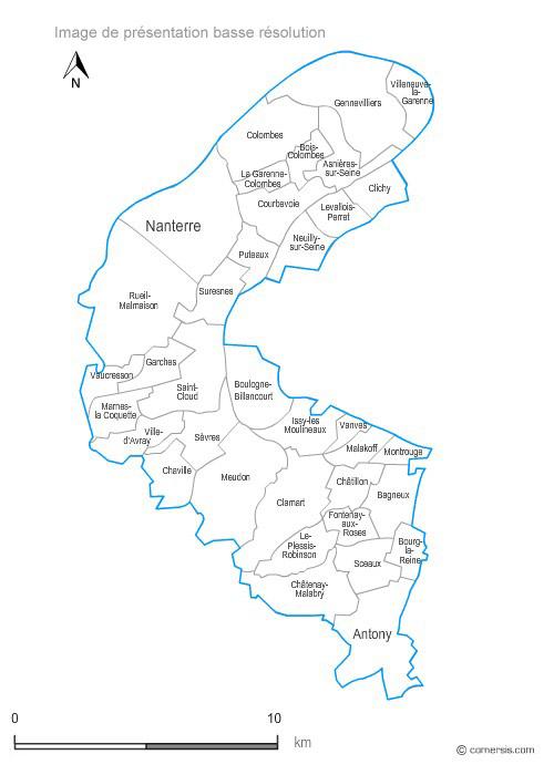 haut de seine carte Hauts de Seine municipalities vector map with names ( France ).