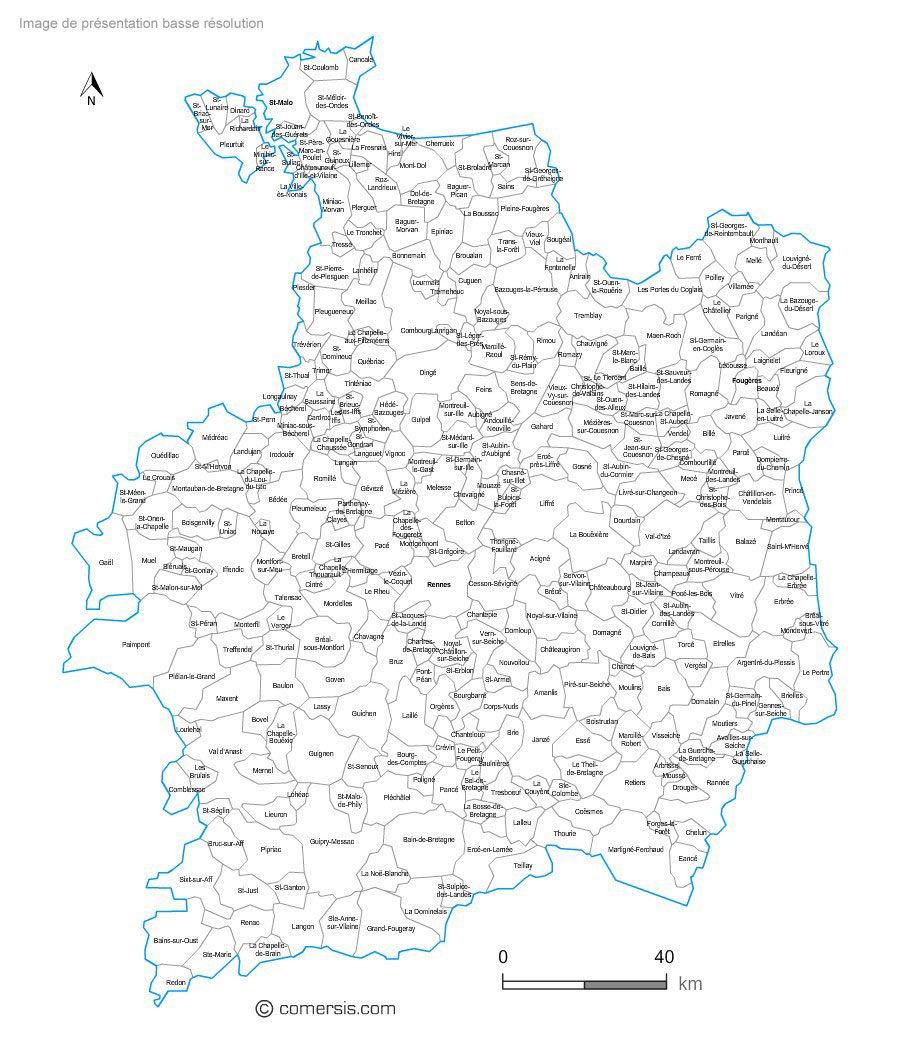 Ille-et-Vilaine municipalities vector map with names ( France ).