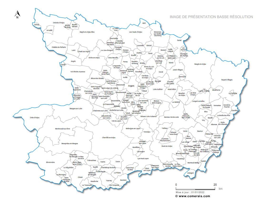 Carte des communes nommées de Maine-et-Loire
