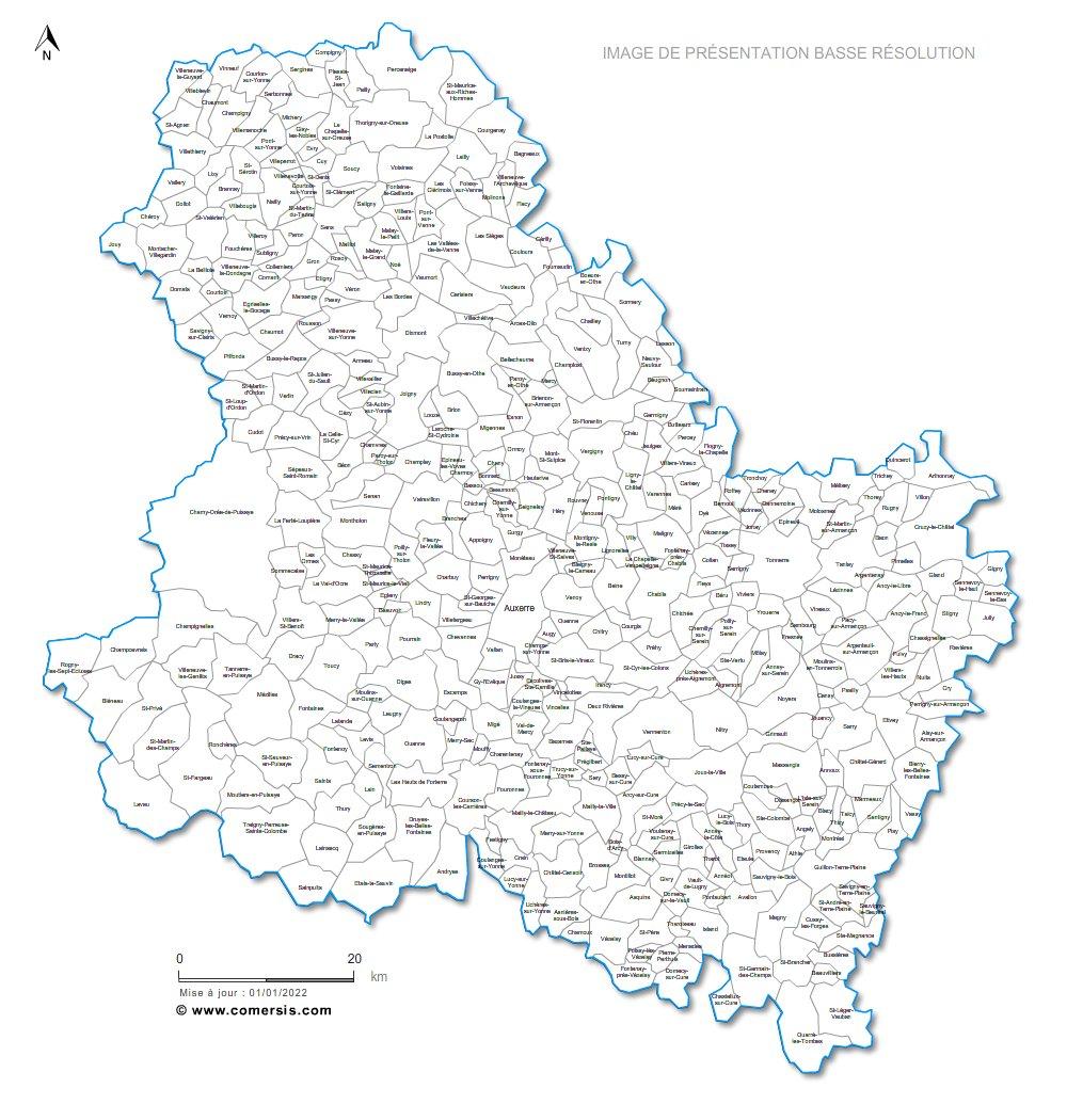 Carte personnalisable des villes et communes de l 39 yonne for Region yonne