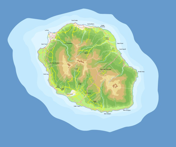 Elevation map of Reunion Island