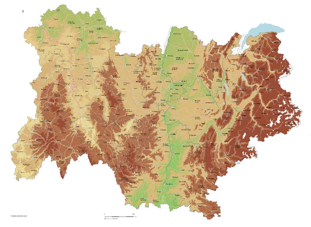 Carte Du Relief D Auvergne Rhone Alpes
