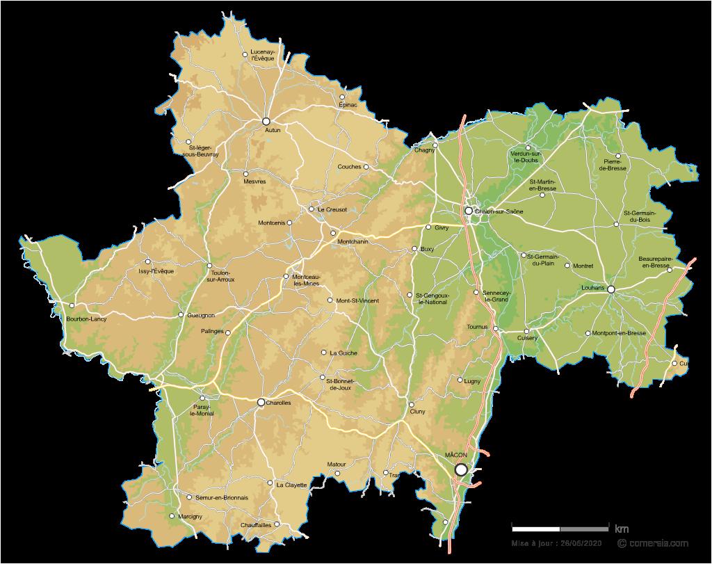 Carte vectorielle du relief de Saône-et-Loire