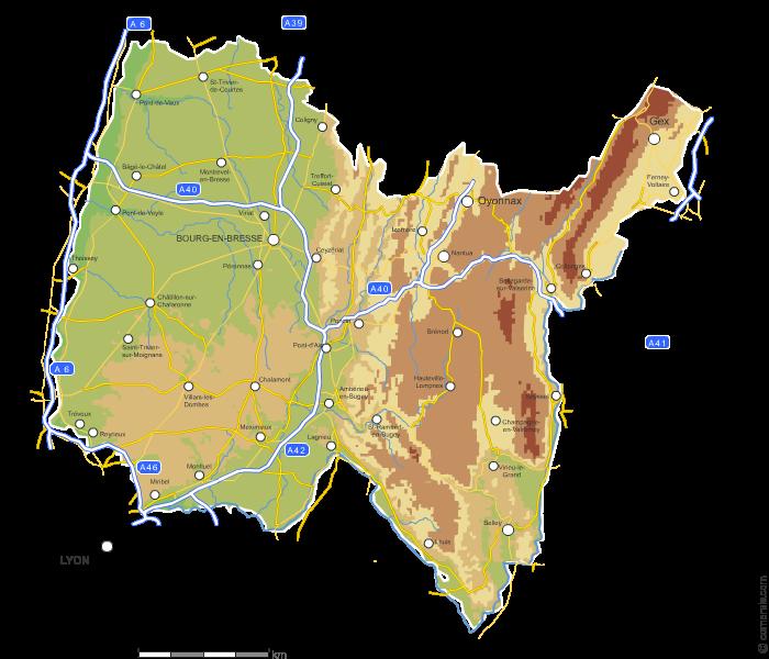 Carte vectorielle du relief de l'Ain