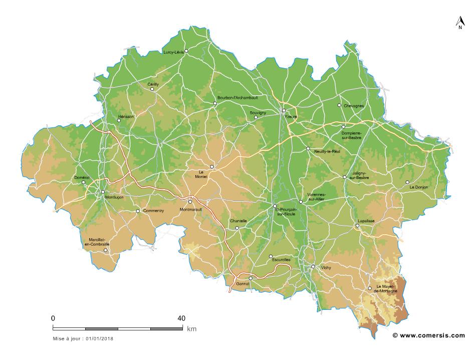 Carte vectorielle du relief de l'Allier