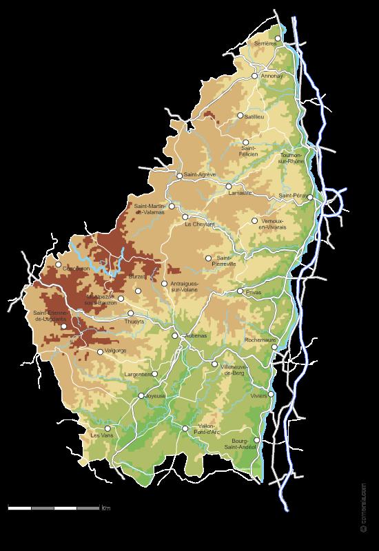 Carte vectorielle du relief de l'Ardèche