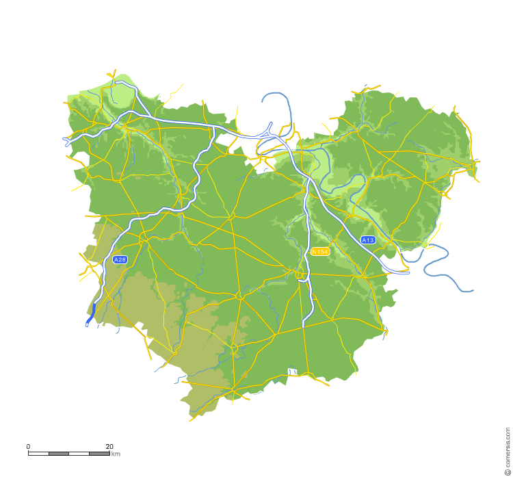 Carte vectorielle du relief de l'Eure