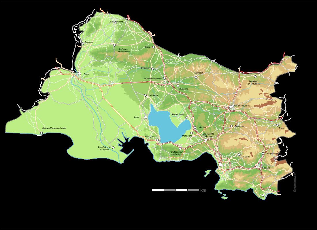 Carte Du Relief Des Bouches Du Rhône