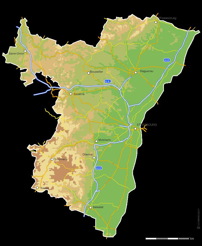 Carte vectorielle du relief du Bas-Rhin