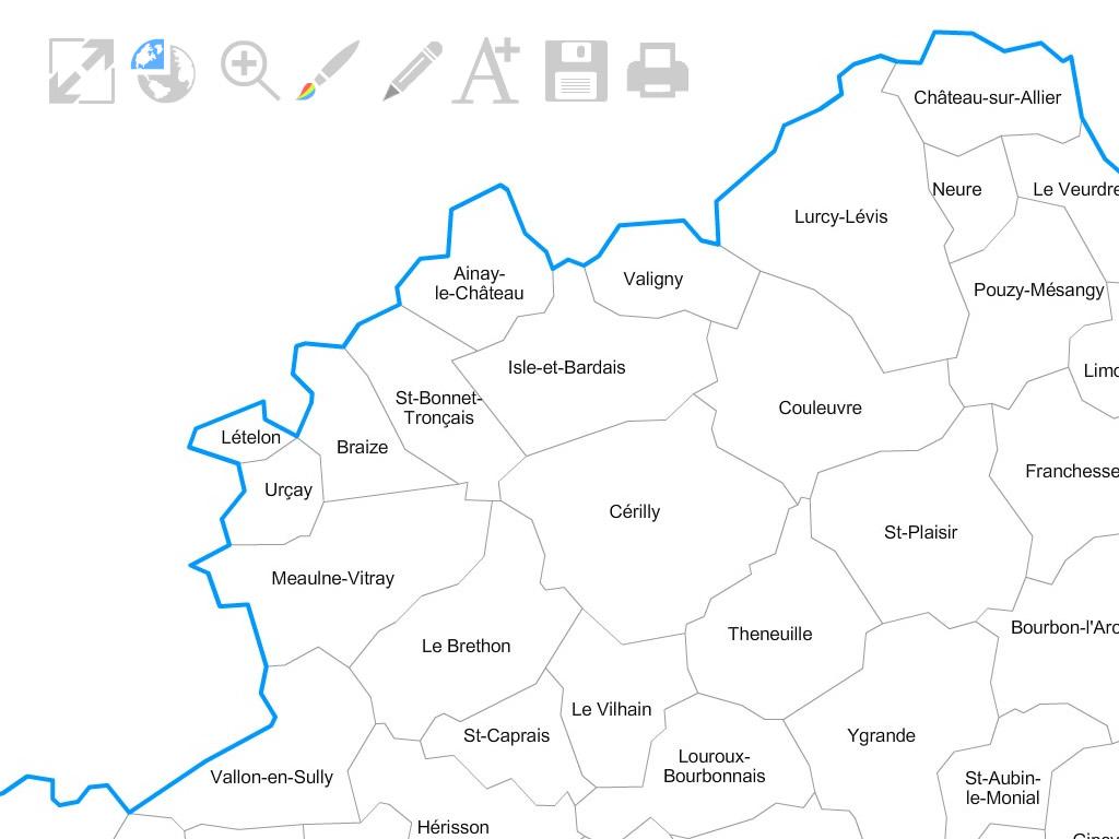 carte de l allier 03 Carte personnalisable des villes et communes de l'Allier