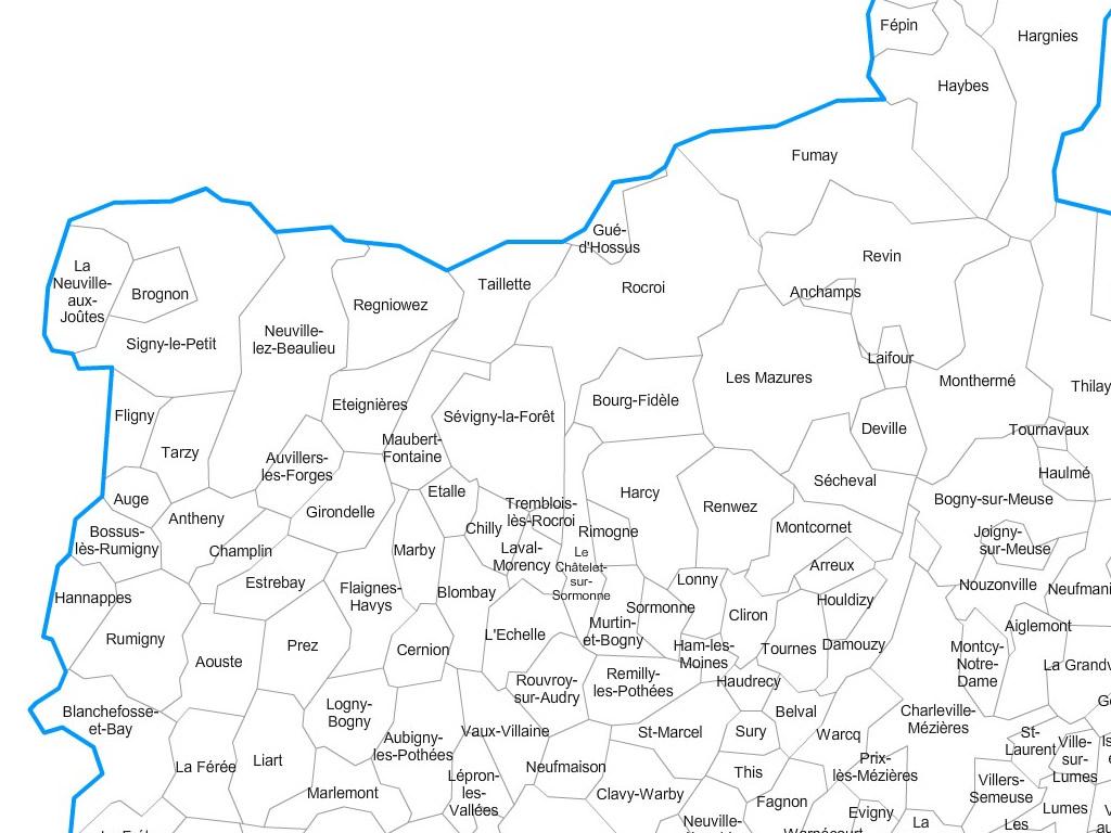 Carte communes des Ardennes - 08