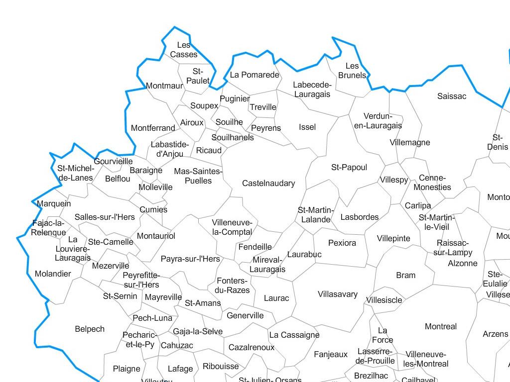 carte de l aude communes Carte personnalisable des villes et communes de l'Aude