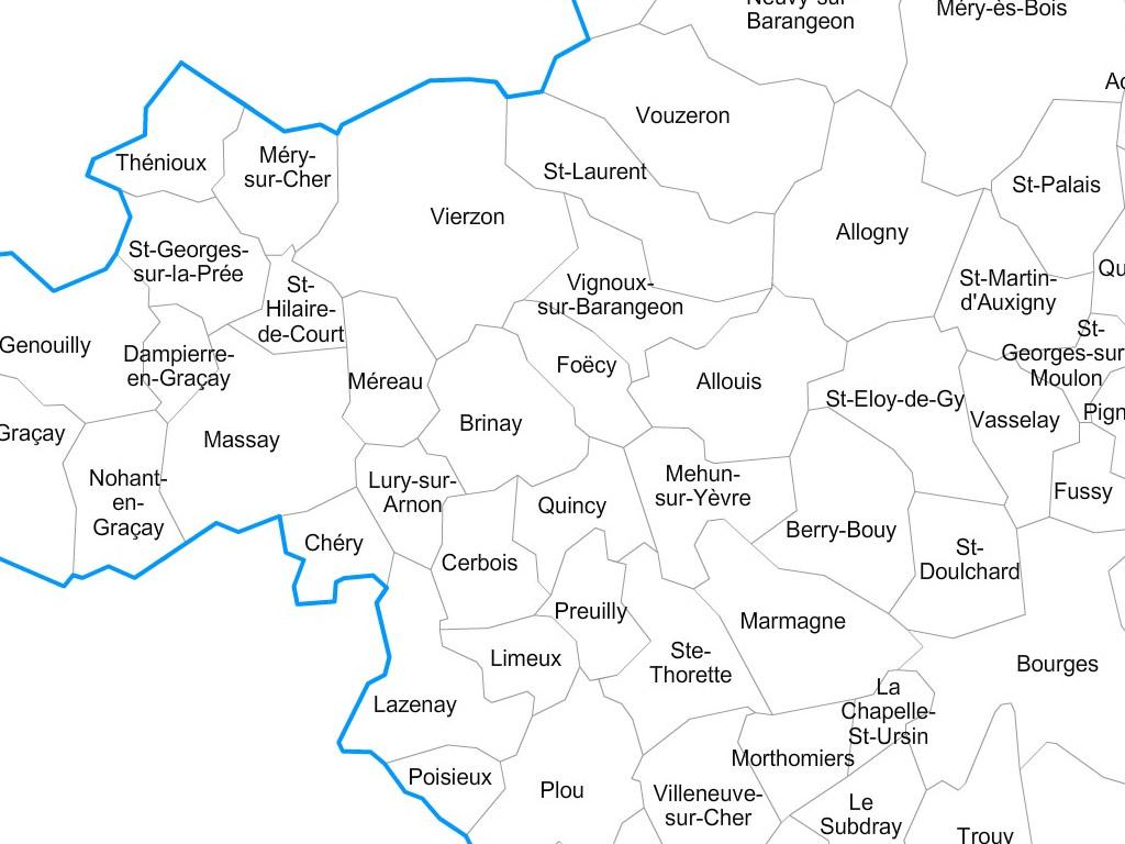 carte du cher 18 Carte personnalisable des villes et communes du Cher