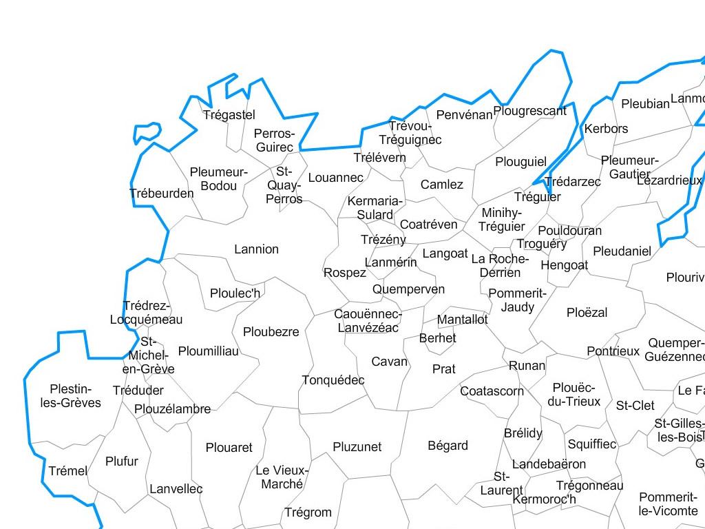 carte des cotes d armor avec les communes Carte personnalisable des villes et communes des Côtes d'Armor
