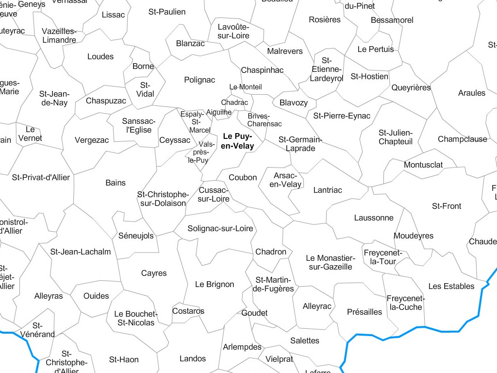 Carte communes de la haute loire 43 for Haute loire carte