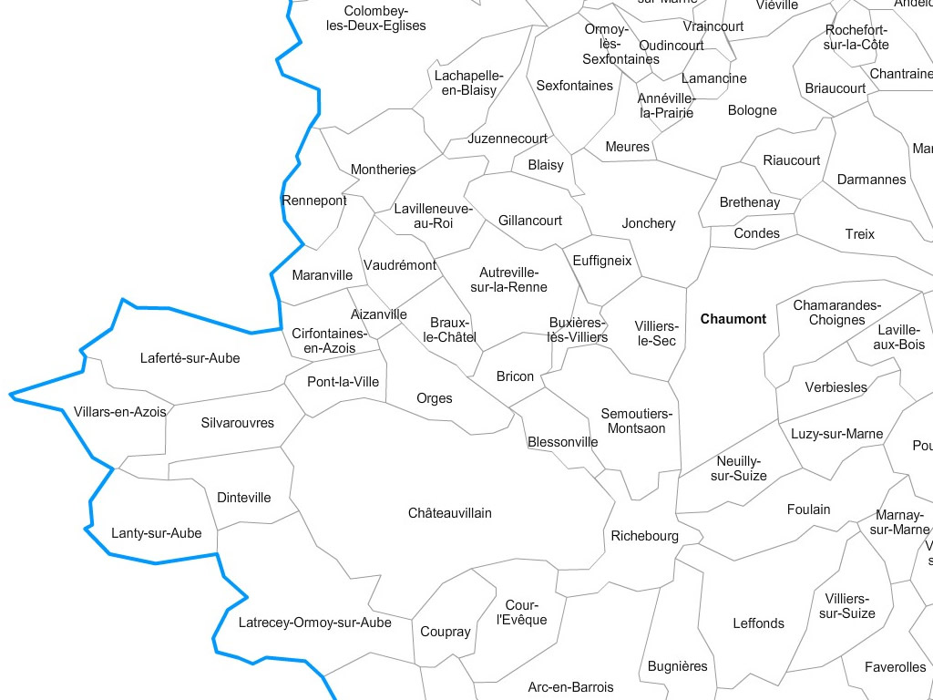 Carte communes de la haute marne 52 for Haute marne carte