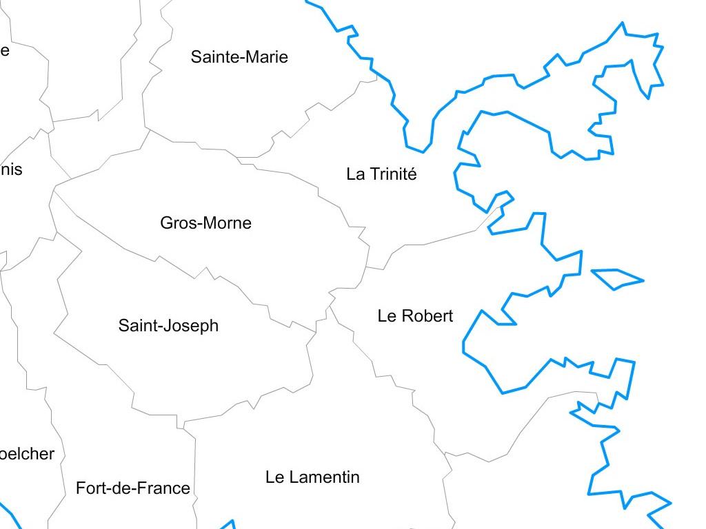 carte de la martinique avec les communes Carte personnalisable des villes et communes de la Martinique