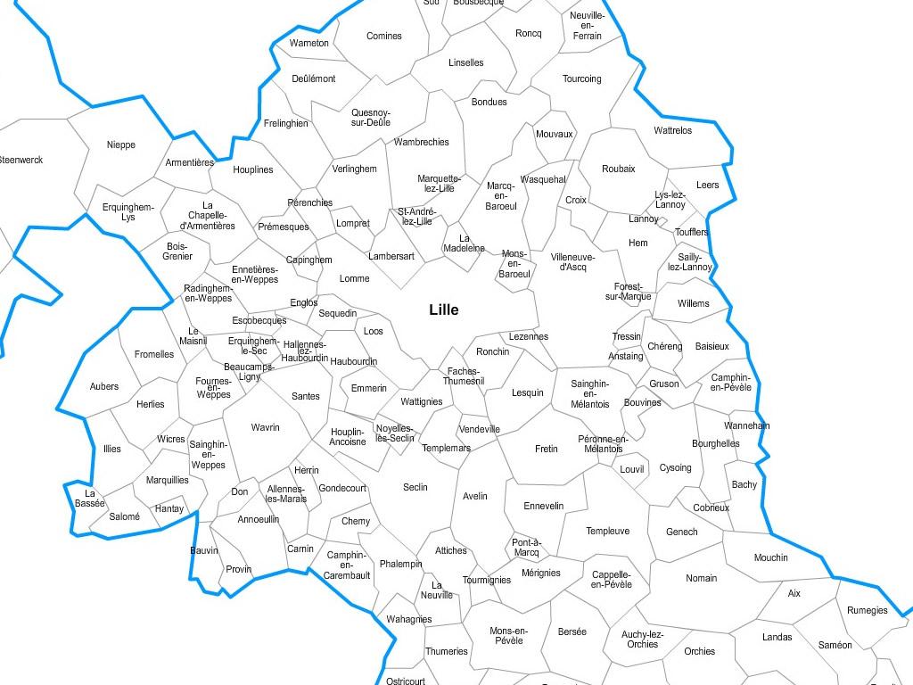 Carte communes du Nord - 59.