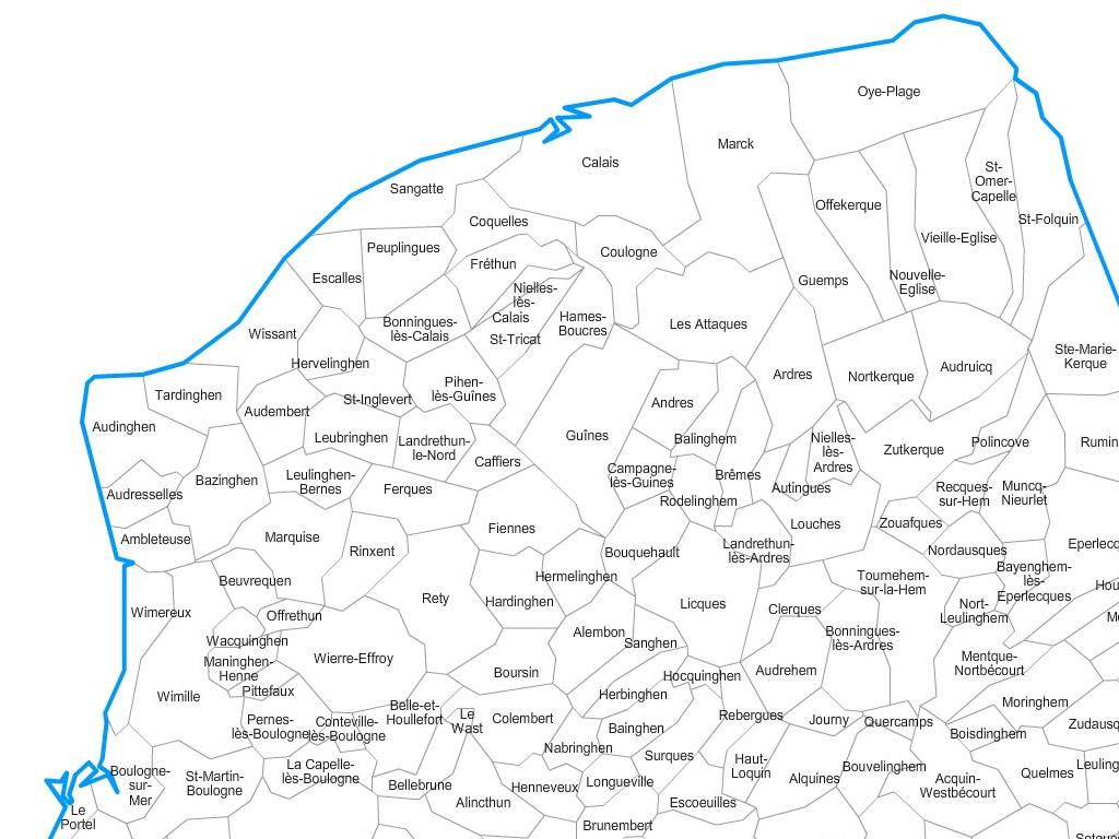 Carte communes du Pas-de-Calais - 62