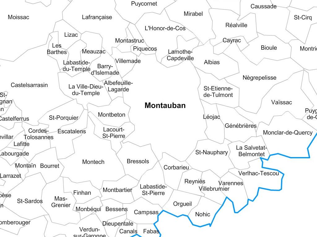 Carte communes du Tarn-et-Garonne - 82