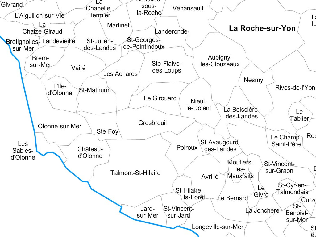 Map Of France Vendee.Vendee Municipalities Vector Map With Names France
