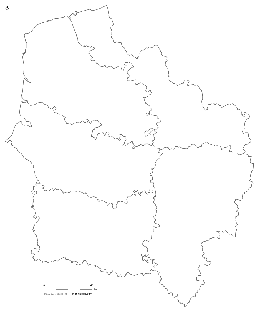 carte vectorielle des  Hauts-de-France